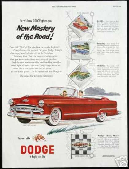 Red Dodge Coronet V-8 Convertible Print Car (1953)