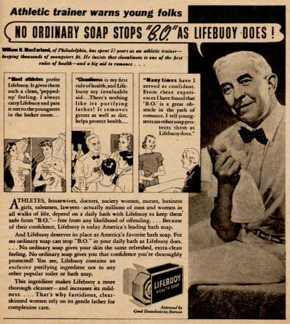 "Lever Brothers Ltd.'s Lifebuoy Health Soap – No Ordinary Soap Stops ""B.O."" as Lifebuoy Does (1938)"