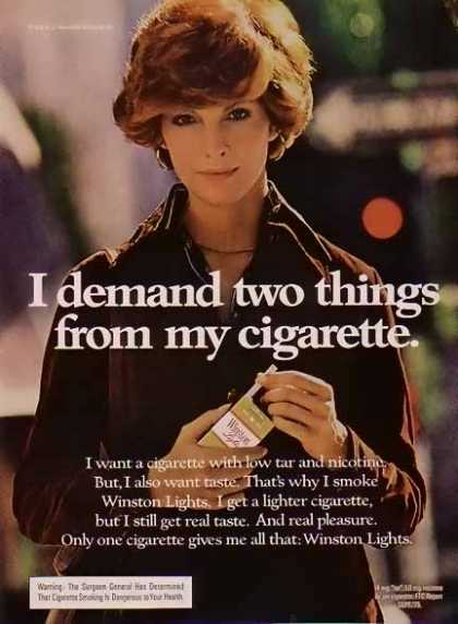 Winston – Women of Winston Cigarette – I demand two things (1975)