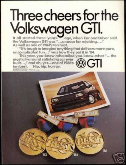 VW Volkswagen GTI Photo Car & Driver Vintage (1986)