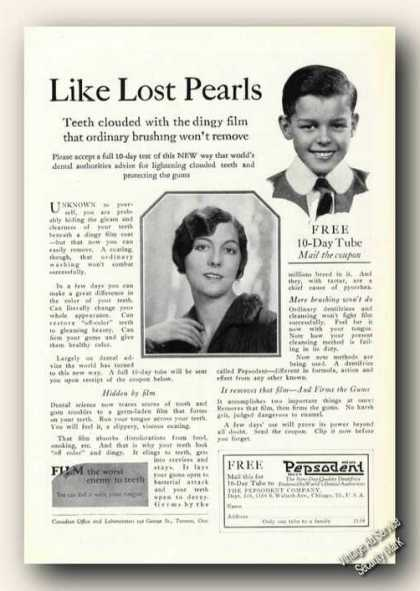 Like Lost Pearls Pepsodent Tooth Paste Ad Dental (1926)
