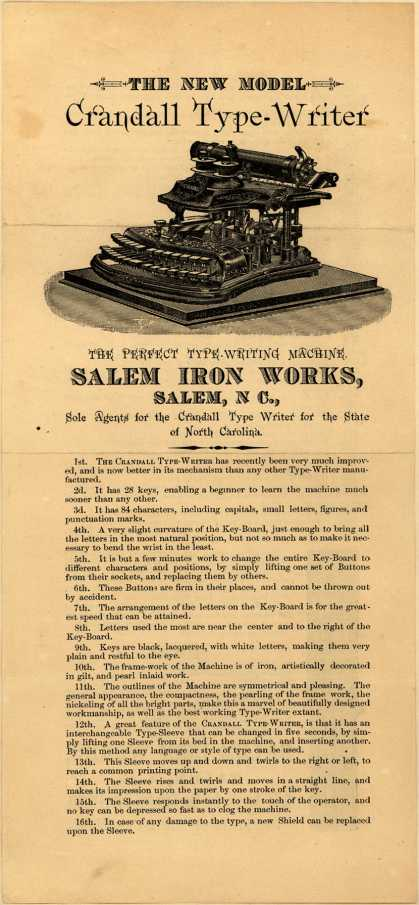 Salem Iron Work's Typewriters – Crandall – The New Model Crandall Typewriter