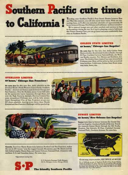 Southern Pacific's California – Southern Pacific cuts time to California