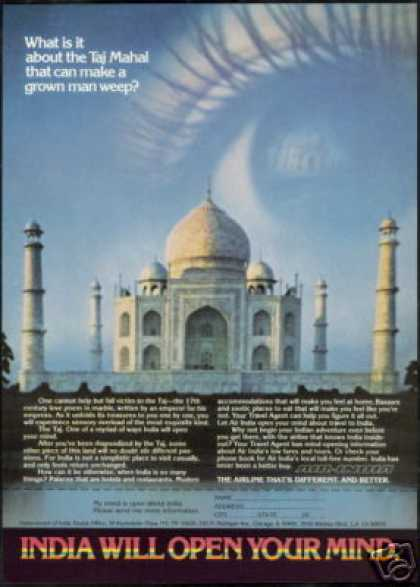 Air India Airlines Travel Taj Mahal Photo (1979)
