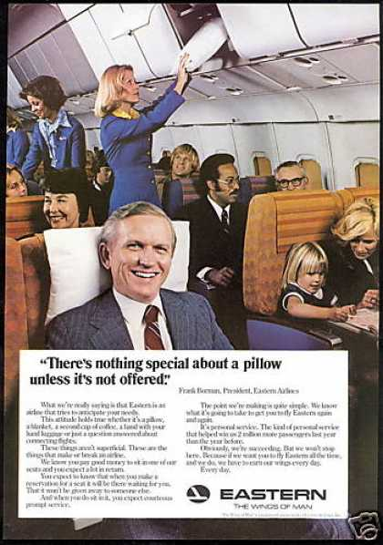 Eastern Airlines Frank Borman Stewardess Pillow (1977)