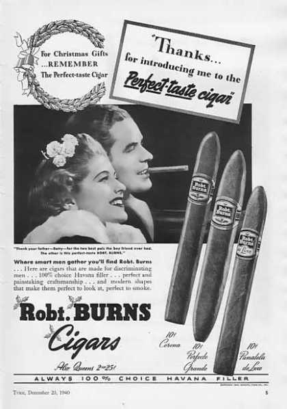 Robt. Burns Cigar – Corona, Perfecto, Panatela (1940)