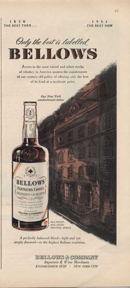 Bellows Whiskey Bottle (1951)