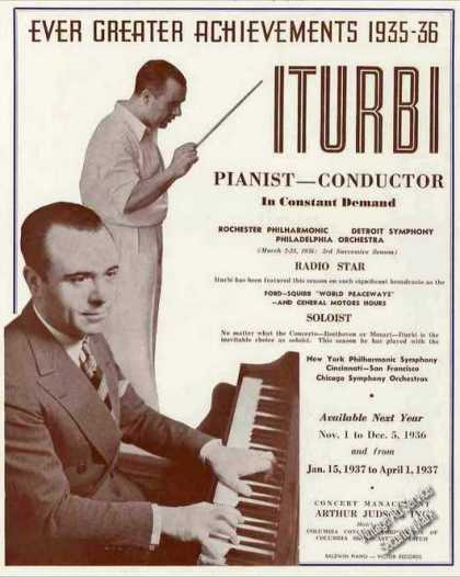 Jose Iturbi Photo Spanish Pianist/conduct (1936)