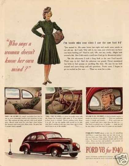 """Ford V-8 Car Color Ad """"Who Says a Woman... (1940)"""