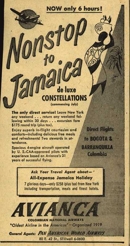 Avianca Colombian National Airway's Avianca – Nonstop to Jamaica (1951)