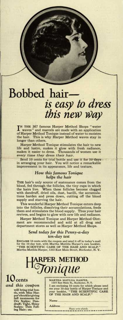 Martha Matilda Harper's Harper Method Tonique – Bobbed hair- is easy to dress this new way (1924)