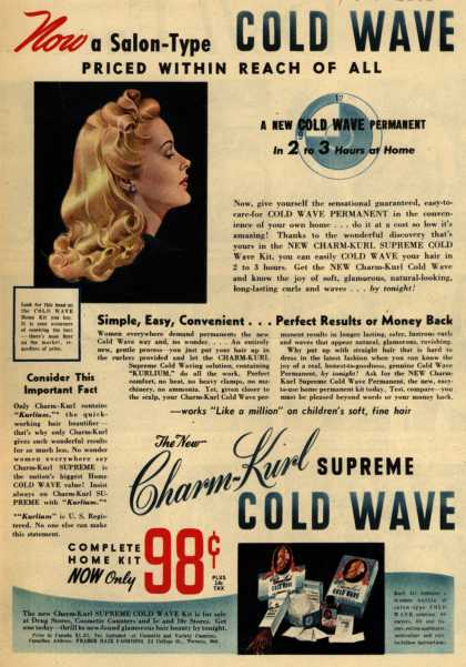 Charm-Kurl Company's Charm-Kurl Supreme Cold Wave Permanent – Now a Salon-Type Cold Wave Priced Within Reach of All (1946)
