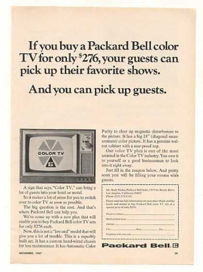 Packard Bell Motel Hotel Color TV Television (1967)