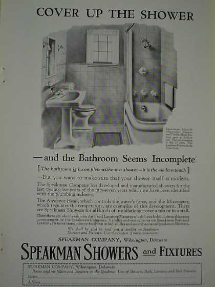 Speakman Showers and fixtures Cover up the shower (1926)