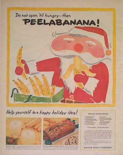 Peelabanana Santa – Banana Quick Bread Recipe (1957)