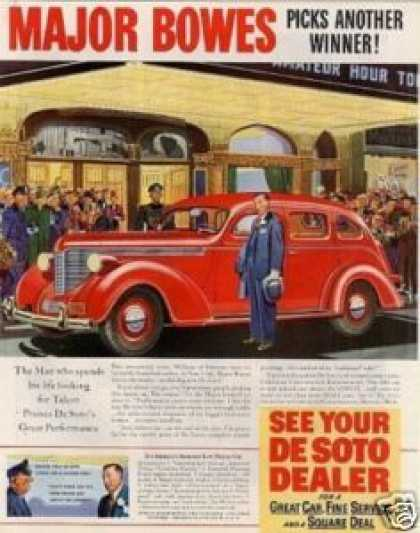 Desoto Car Color Ad Major Bowes (1938)