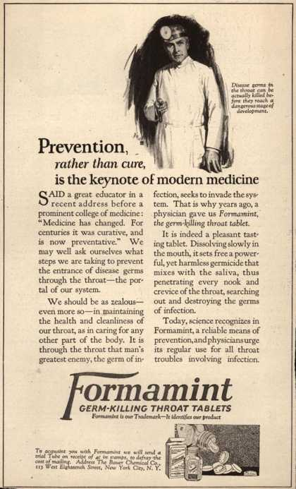 Bauer Chemical Company's Formamint – Prevention, rather than cure, is the keynote of modern medicine (1923)