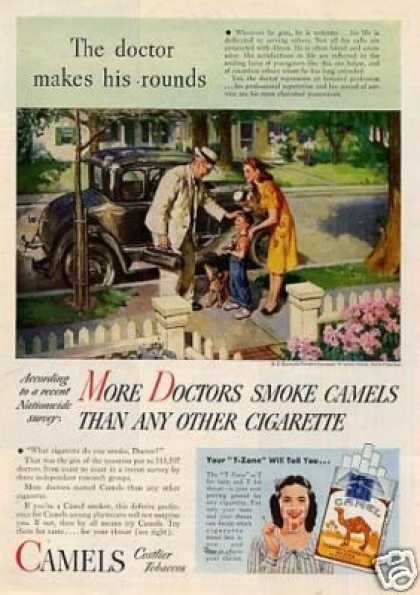 """Camel Cigarettes Ad """"The Doctor Makes His... (1946)"""