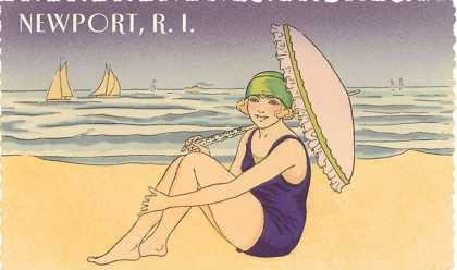 Newport, Rhode Island, Girl on Beach with Parasol