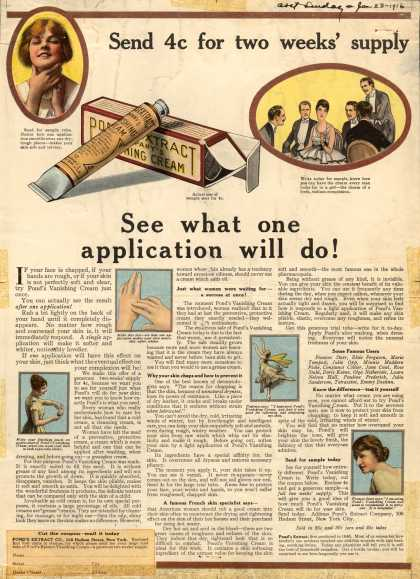 Pond's Extract Co.'s Pond's Vanishing Cream – See what one Application Will do (1916)