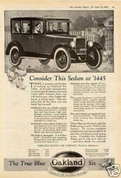 "Oakland Six Sedan Ad ""Consider This... (1924)"
