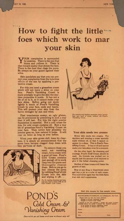 Pond's Extract Co.'s Pond's Cold Cream and Vanishing Cream – How to fight the little foes which work to mar your skin (1920)