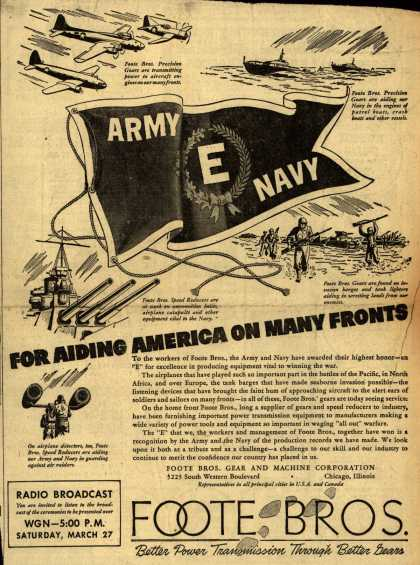 "Foote Bros.'s Army Navy ""E"" – For Aiding America On Many Fronts (1943)"