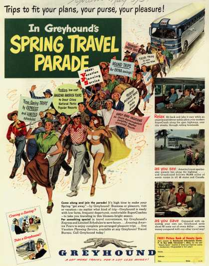 Greyhound's Spring Travel – Trips to fit your plans, your purses, your pleasure! In Greyhound's Spring Travel Parade (1951)