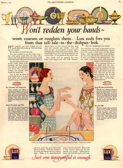 Lever Bros.'s Lux (laundry flakes) – Won't redden your hands - (1925)