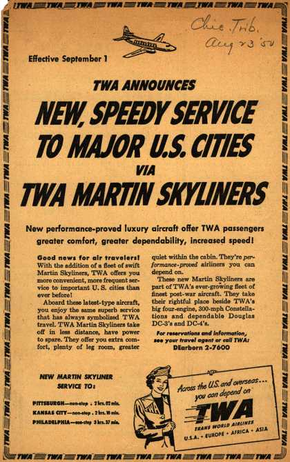 Trans World Airline's Martin Skyliners – TWA Announces New, Speedy Service To Major U.S. Cities Via TWA Martin Skyliners (1950)