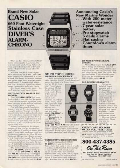 Casio Digital Mariners Quartz Divers Watches (1984)