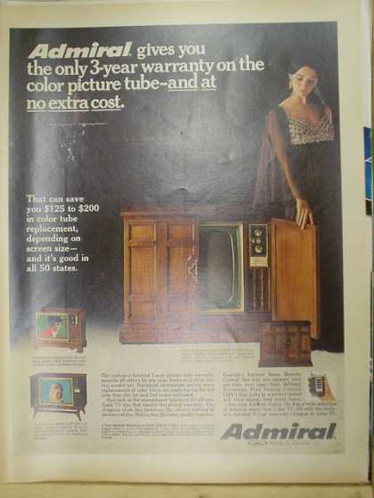 Admiral Console TV television. 3 year warranty on the picture tube. (1969)