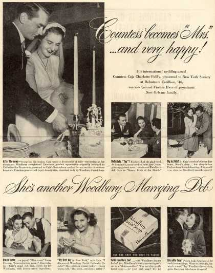 "Woodbury's Facial Soap – Countess becomes ""Mrs."" ...and very happy! She's another Woodbury marrying Deb (1948)"