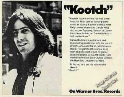 Danny Kortchmar Photo &quot;Kootch&quot; Album Promo (1973)