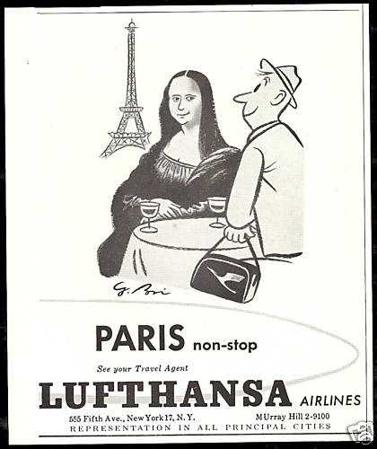 Lufthansa Airlines Paris Eiffel Tower Mona Lisa (1958)