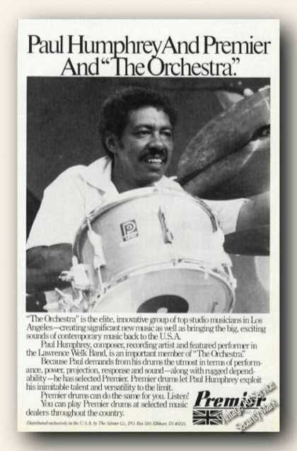 Paul Humphrey Photo Premier Drums Ad Rare (1980)