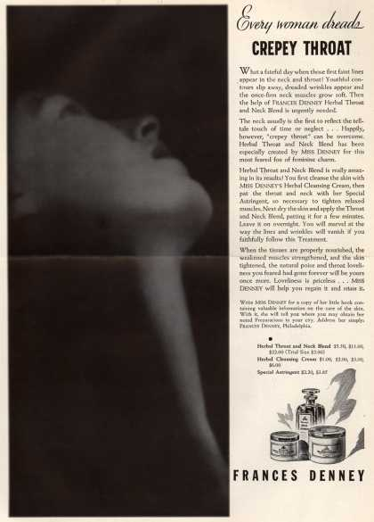 Frances Denney's Herbal Throat and Neck Blend – Every woman dreads Crepey Throat (1934)