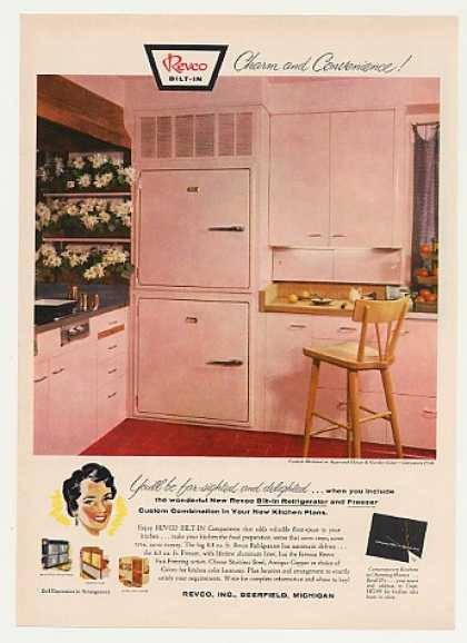 Revco Bilt-In Pink Refrigerator Freezer (1955)