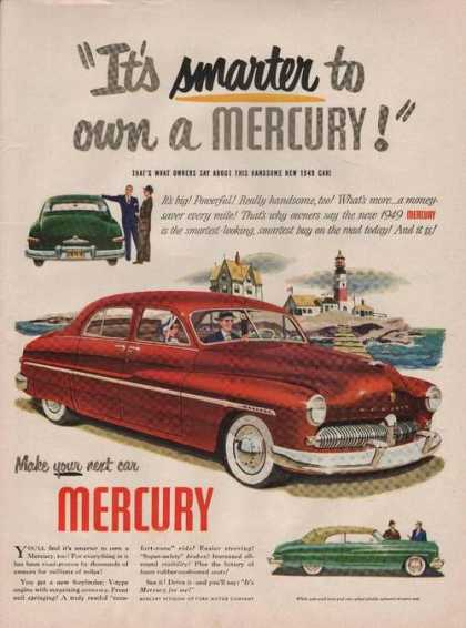 Its Smarter To Own a Mercury Red Car Print (1949)