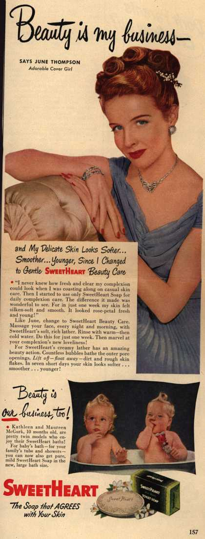 SweetHeart – Beauty is My Business- Says June Thompson, Adorable Cover Girl (1949)