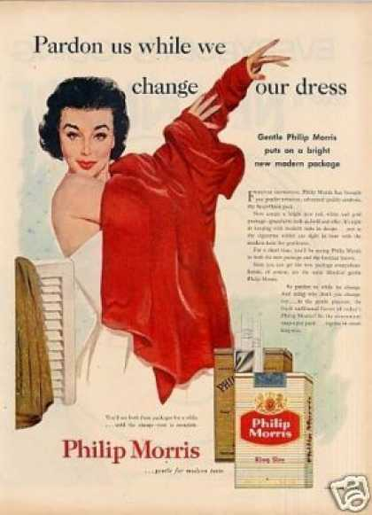 Philip Morris Cigarettes Ad Lady Changing Dress (1955)
