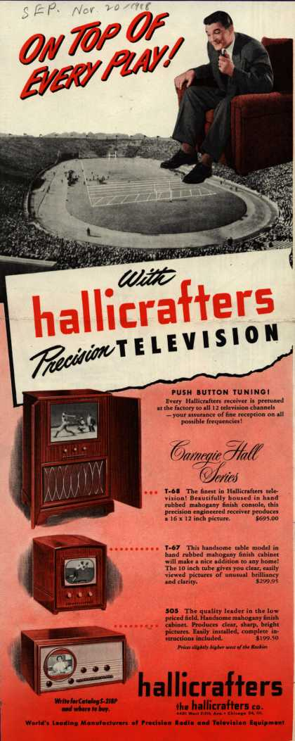 Hallicrafters Company's Carnegie Hall Series Television – On Top of Every Play! With hallicrafters Precision Television (1948)