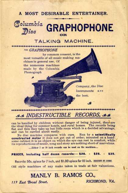 Manly B. Rames Co.'s Columbia Disc Graphophone or Talking Machine – A Most Desirable Entertainer