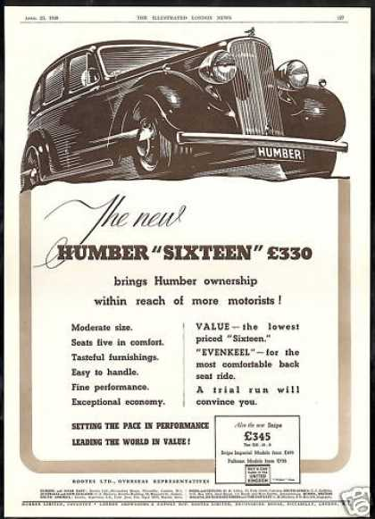 Humber Sixteen Car Vintage Print UK (1938)