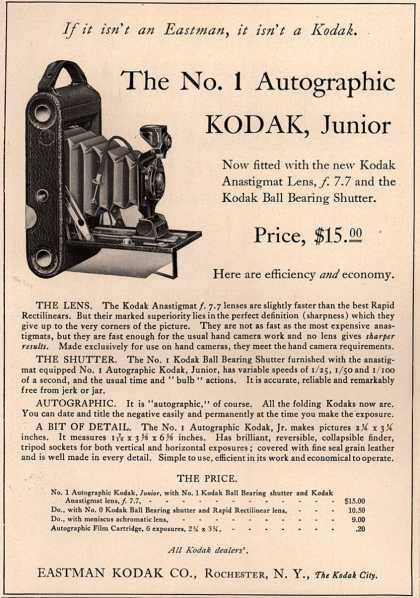 Kodak – The No. 1 Autographic Kodak, Junior (1915)