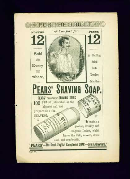 Pears' Shaving Soap Ad Rare Full Page (1888)