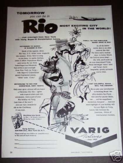 Varig Airlines Fly To Rio Art (1956)