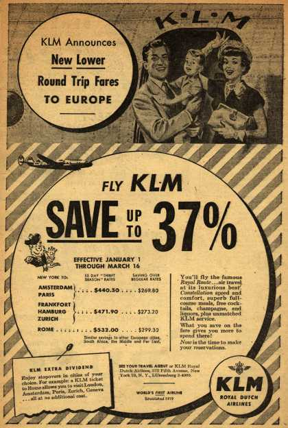 KLM Royal Dutch Airline's Europe – Fly KLM, Save up to 37% (1950)