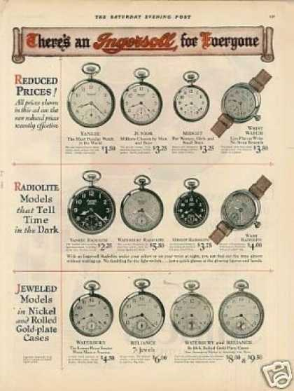 Ingersoll Pocket Watches Color Ad 2 Page (1926)