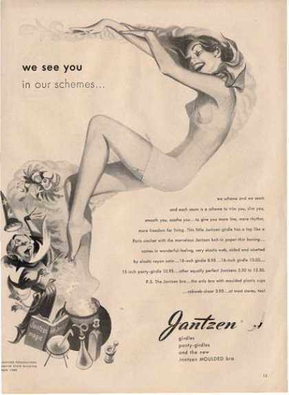 Jantzen Wizard Art Womens Panty Girdle Bra Ad T (1948)